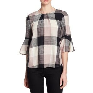 Ro & De cotton plaid bow back blouse